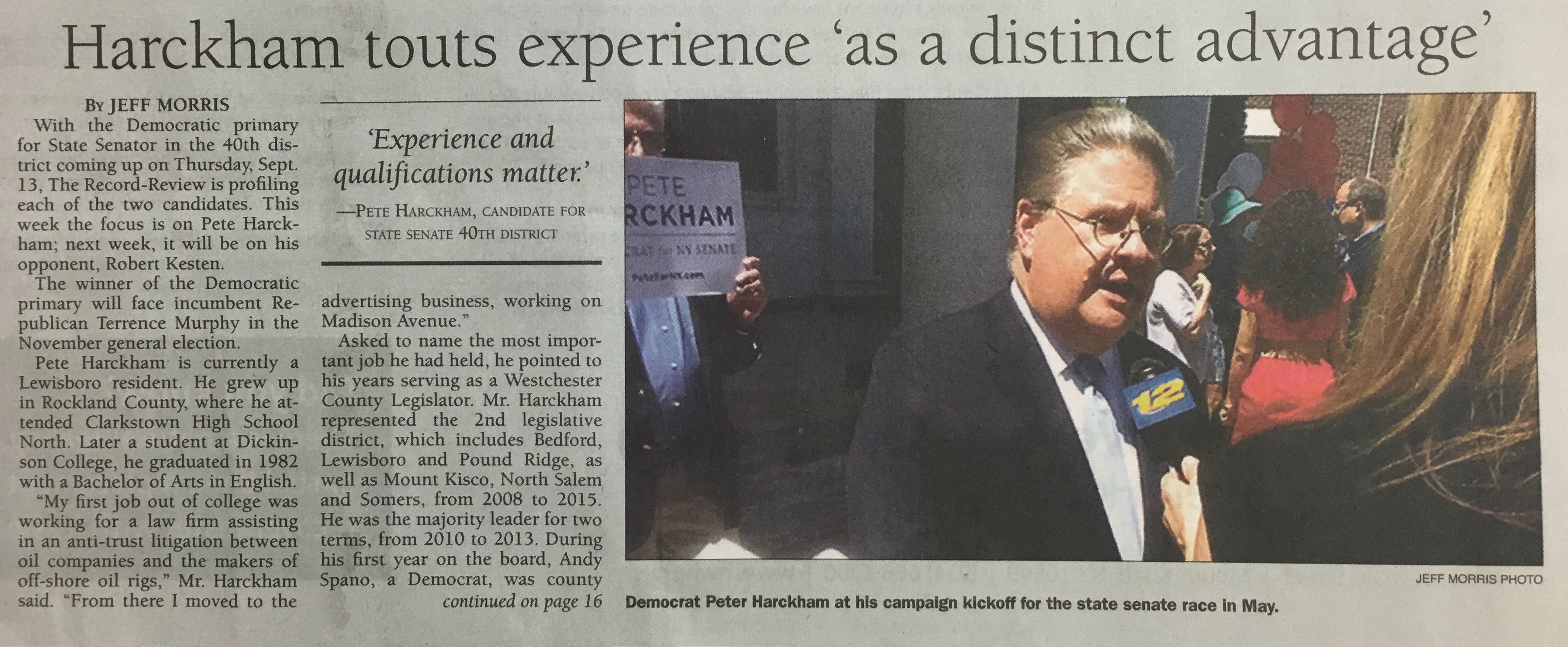 """Harckham touts experience 'as a distinct advantage'"""