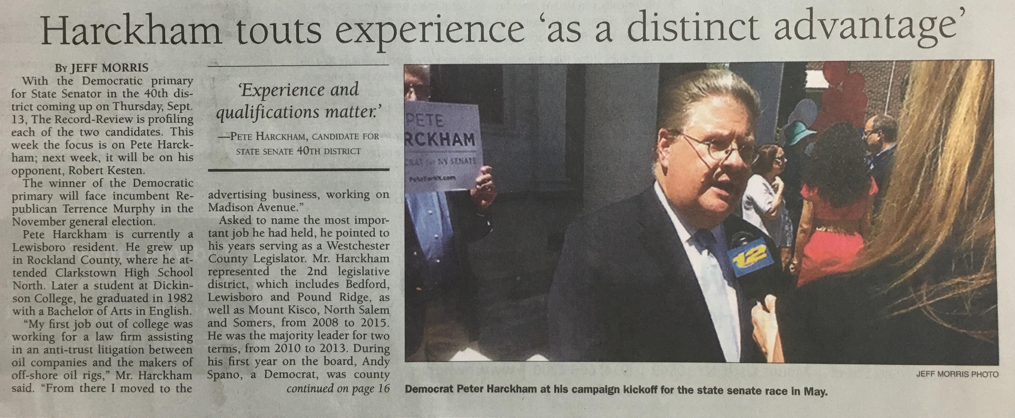 """Harckham touts experience 'as a distinct advantage'"""