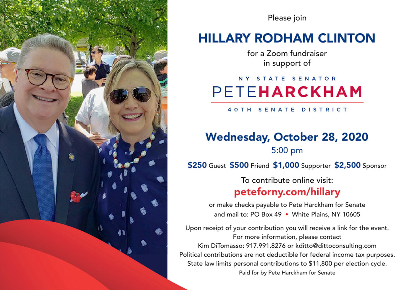 Pete Harckham with Hillary Clinton